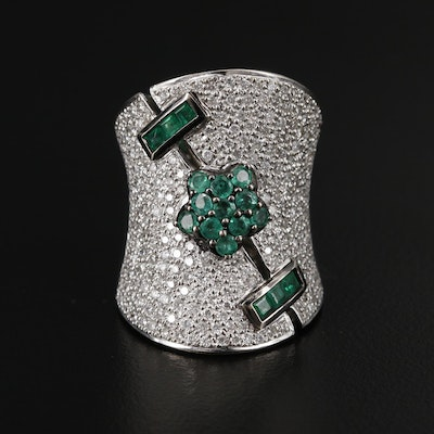 18K White Gold Emerald and Pavé 1.90 CTW Diamond Concave Ring
