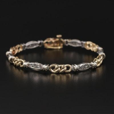14K White and Yellow Gold 1.08 CTW Diamond Bracelet