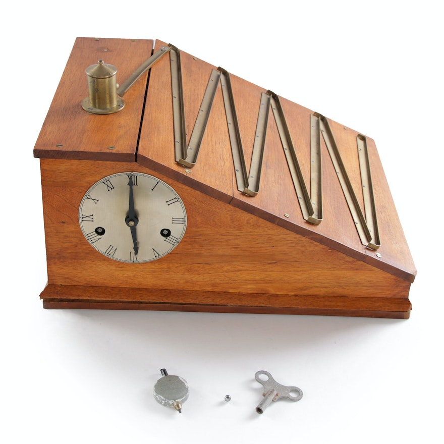 Wooden Rolling Ball Machine Clock, 20th Century