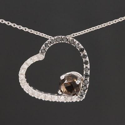 14K White Gold Smoky Quartz and Diamond Heart Pendant Necklace
