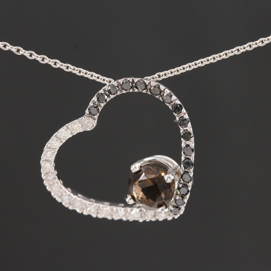 14K White Gold Smoky Quartz and Diamond Heart Pendant Necklace