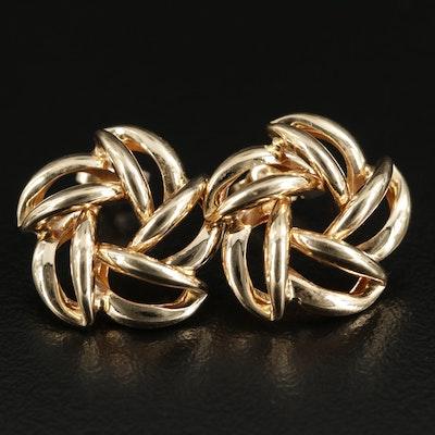 14K Yellow Gold Pinwheel Stud Earrings