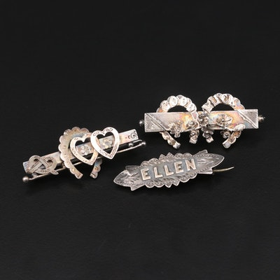 Victorian Sterling Silver Brooches