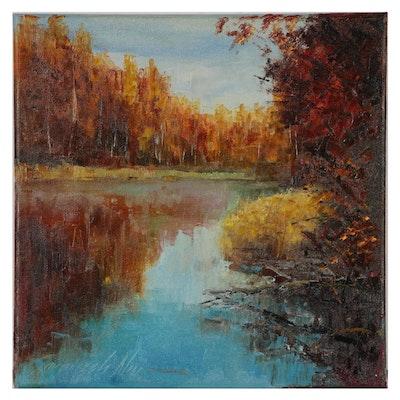 """Garncarek Aleksander Oil Painting """"Jesieńnie"""""""