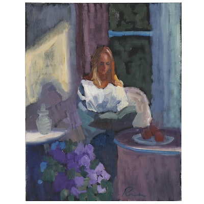 Sally Rosenbaum Oil Painting of Woman Reading