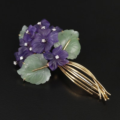 Circa 1950s 18K Diamond, Amethyst and Nephrite Bouquet Brooch with Palladium