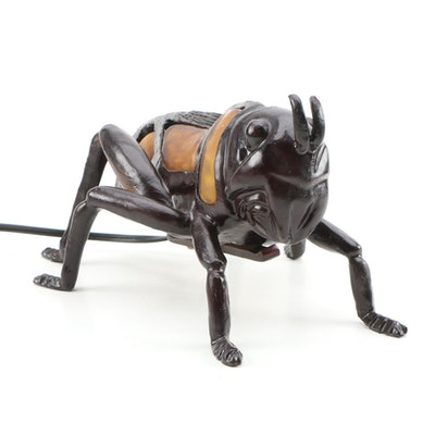 Bronze Tone Figural Grasshopper Accent Light