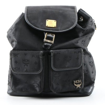 MCM München Backpack in Black Nylon Canvas and Leather, Vintage