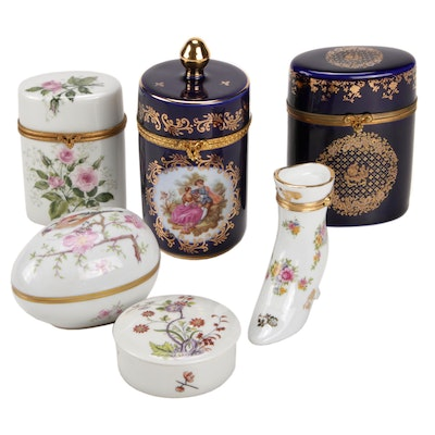 Limoges Porcelain Boxes Featuring Castel, Halga, and Fontanille Marraud