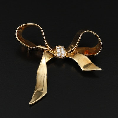 18K Yellow Gold Diamond Ribbon Brooch