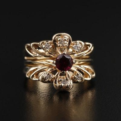 14K Yellow Gold Garnet and Diamond Ring with Openwork Design