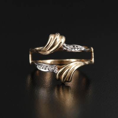10K Yellow Gold Diamond Ring Jacket with 10K White Gold Accents