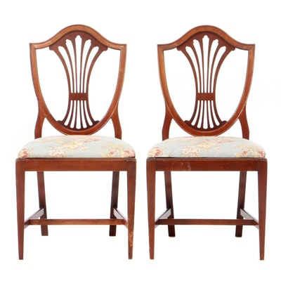 Birch Hepplewhite Shield-Back Side Chairs, circa 1940