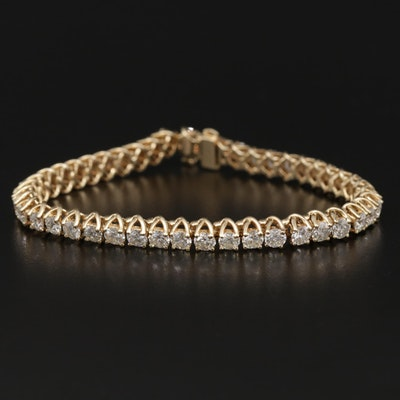 14K Yellow Gold 7.75 CTW Diamond Hinged Link Tennis Bracelet