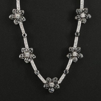 18K White Gold 2.56 CTW Diamond Floral Necklace