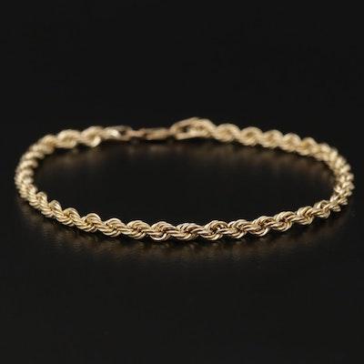 10K Yellow Gold Rope Link Bracelet