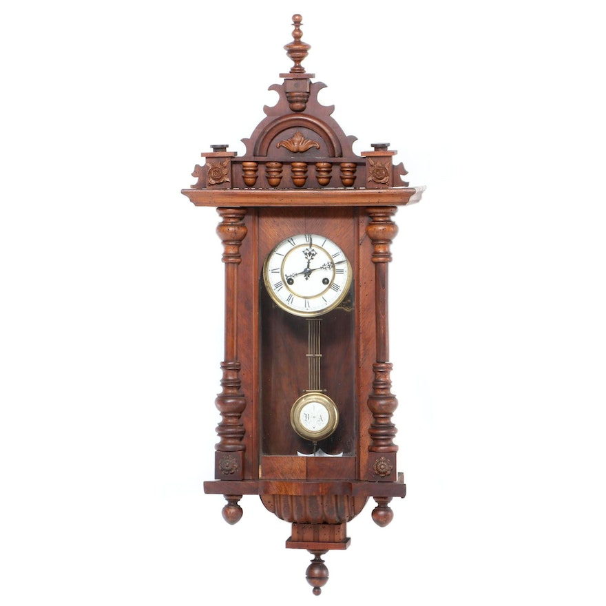 German Carved Walnut Wall Clock, Late 19th/Early 20th Century