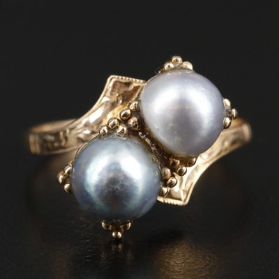 Vintage 14K Yellow Gold Pearl Bypass Ring with Granulated Accents