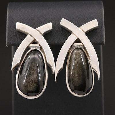 Antonio Pineda Sterling Silver Obsidian Earrings