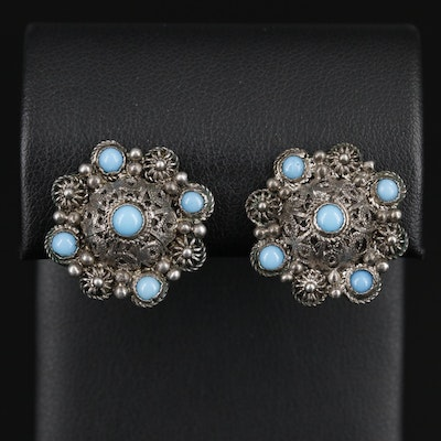 900 Silver Glass Turquoise Button Clip On Earrings