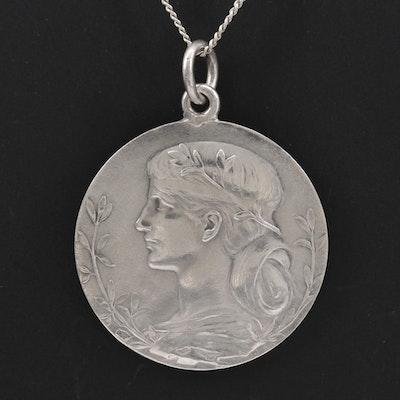 Art Nouveau Jean-Baptiste Daniel-Dupuis Sterlin Medallion Necklace