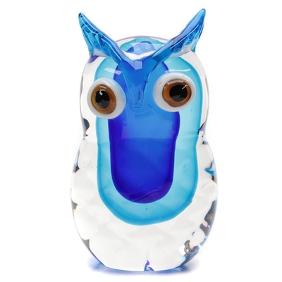 Blue Blown Art Glass Owl Figurine