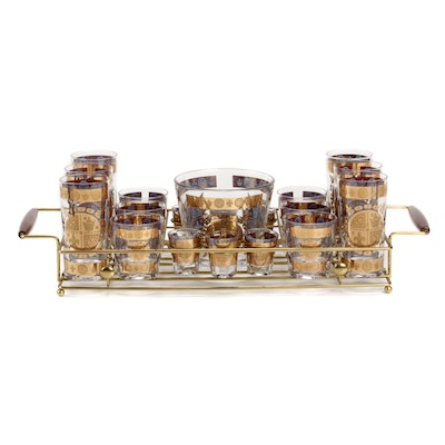 22K Embellished Cocktail and Shot Glasses, Ice Bucket and Tray, Mid-20th Century