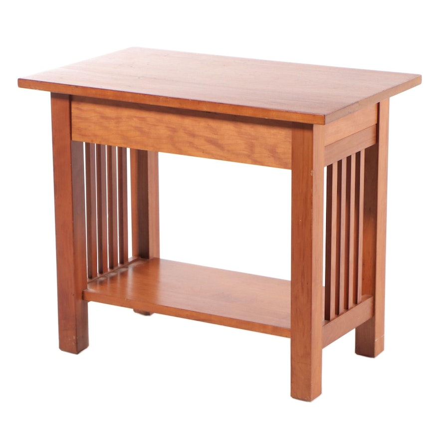 Arts and Crafts Style Cherry End Table, Late 20th Century
