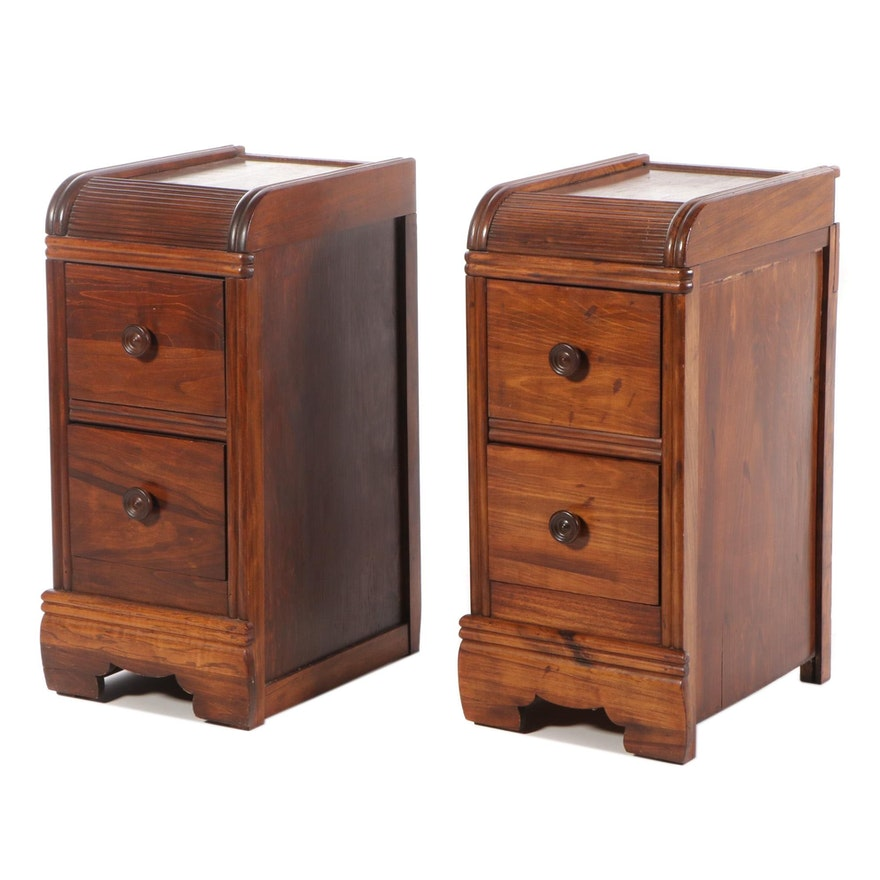 Pair of Gum Nightstands with Waterfall-Fronts, circa 1940