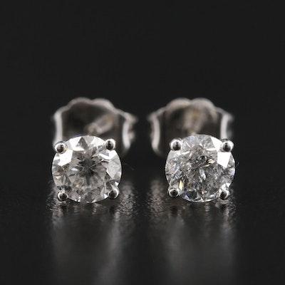 14K White Gold 0.86 CTW Diamond Stud Earrings