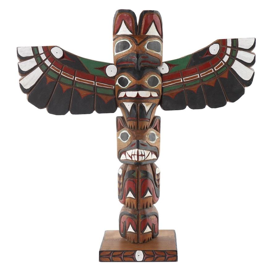 Frank Williams Tlingit Hand-Painted Carved Wood Totem Pole