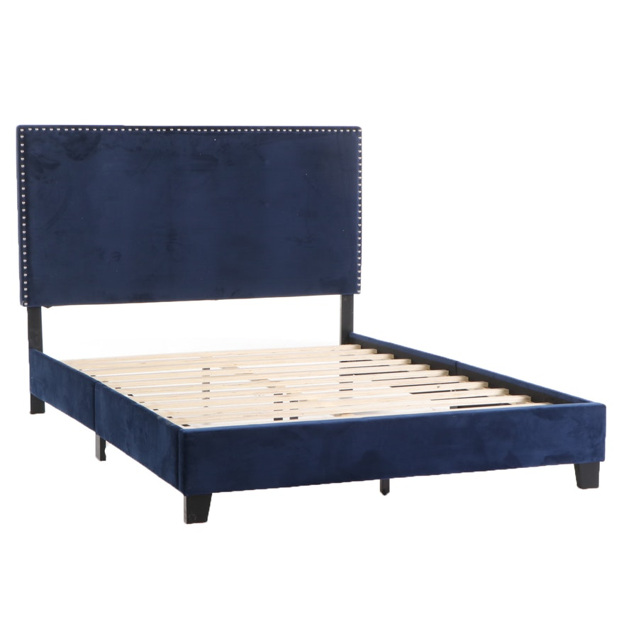 Deep Blue Velour Upholstered Queen Bed Frame