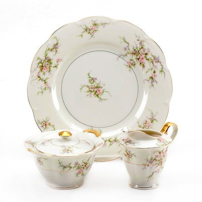 "Théodore Haviland ""Rosalinde"" Porcelain Dinner Plate, Creamer, and Sugar Bowl"