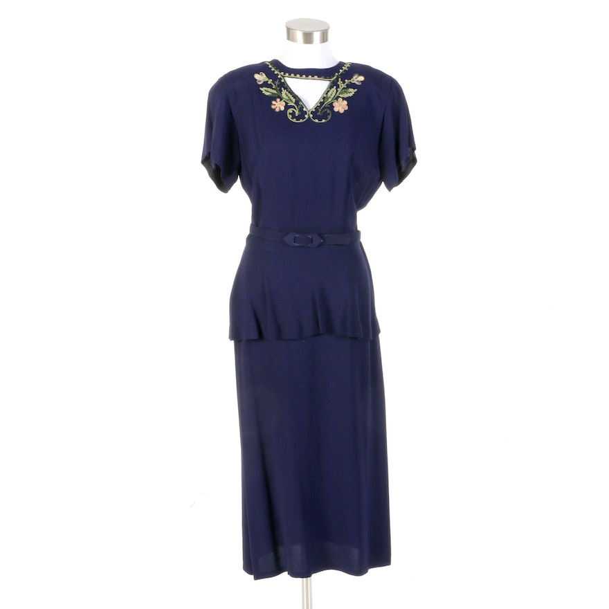 Lerner Shops Deep Blue Floral Soutache Peplum Dress, 1940s Vintage