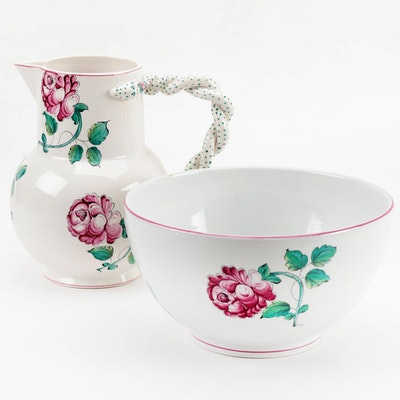 "Tiffany & Co. ""Strasbourg Flowers"" Ceramic Serving Bowl and Pitcher"