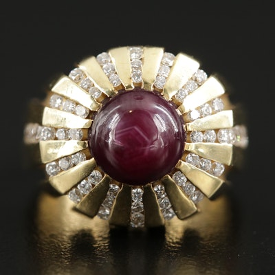 Vintage 18K Yellow Gold Star Ruby and Diamond Ring