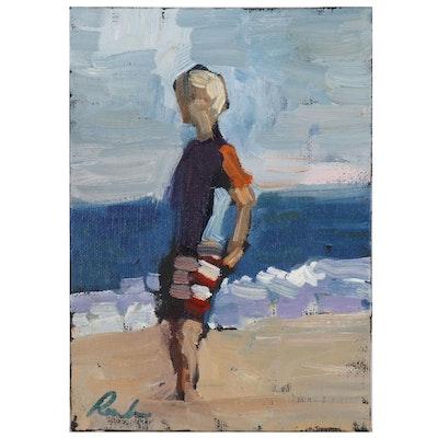 Sally Rosenbaum Oil Painting of Boy at Shore