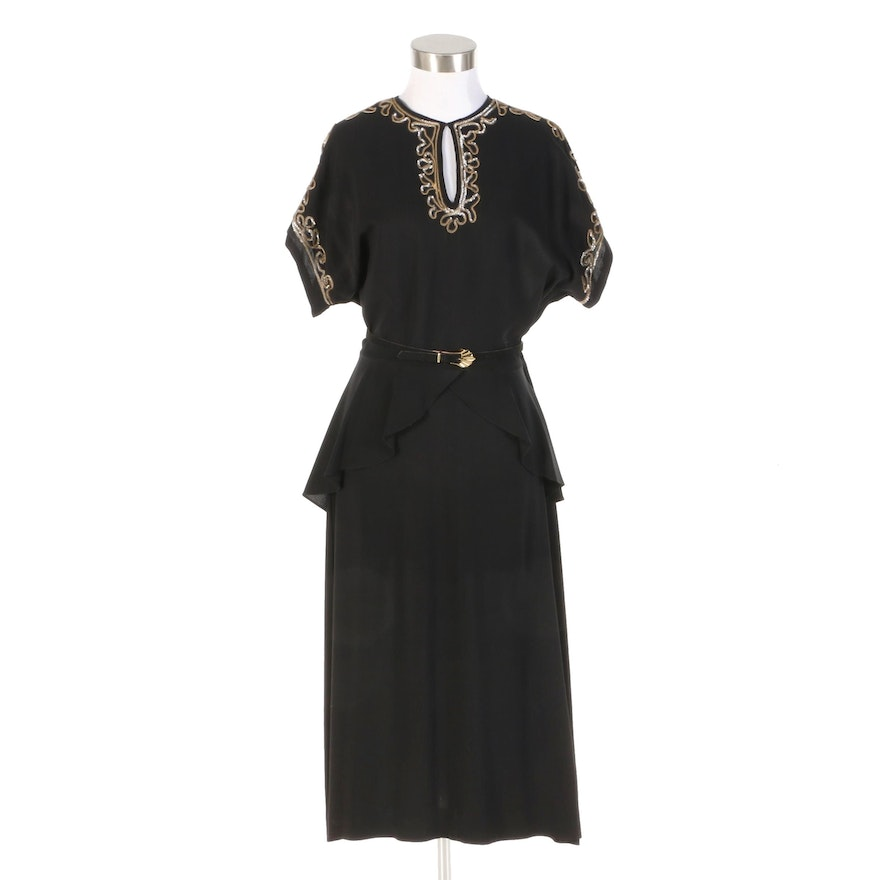 Embellished Black Rayon Crepe Peplum Dress, 1940s Vintage