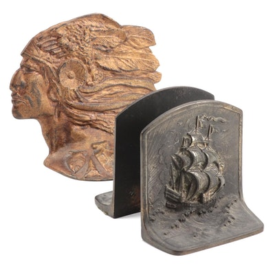 Cast Iron Ship Bookends and Figural Doorstop
