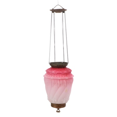 Victorian Opaque Pink to White Hanging Candle Lamp