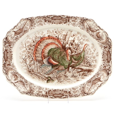 "Johnson Bros. ""Wild Turkeys"" Transferware Platter, 1951-74"