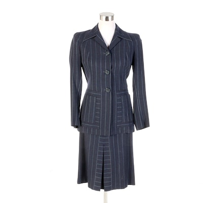 Julius Garfinckel & Co. Navy Pinstriped Skirt Suit, 1940s Vintage
