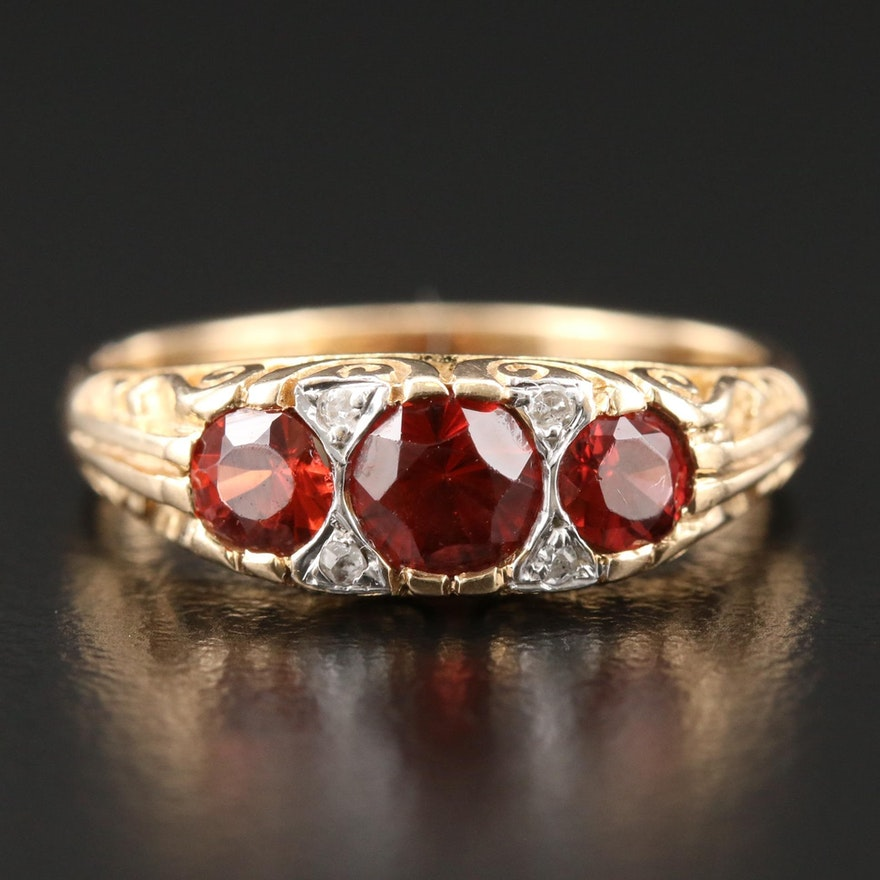 Vintage 14K Yellow Gold Garnet and Diamond Ring