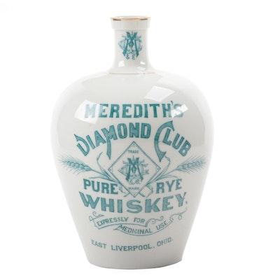 "Knowles, Taylor & Knowles ""Meredith's Diamond Club Pure Rye Whiskey"" Jug, 1890"