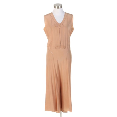 Blush Silk V-Neck Sleeveless Dress with and Openwork Crochet Lace, 1920s Vintage