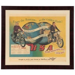 "BSA Motor-Cycle ""Bantam-Golden Flash"" Advertising Off-Set Lithograph, 1952"