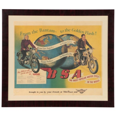 "BSA Motor-Cycle ""Bantam-Golden Flash"" Advertising Off-Set Lithograph, 1952"
