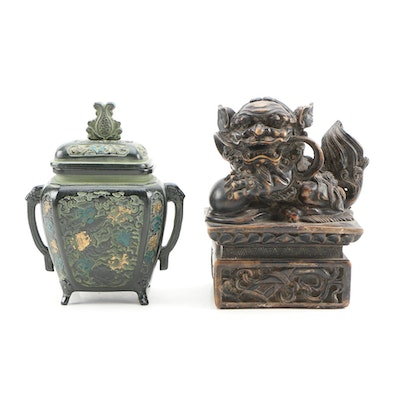 Asian Style Metal Lidded Jar with Resin Sculpture of Lion, 20th Century