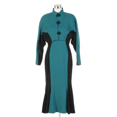Carriage Trade Teal and Black Wool Dress Set