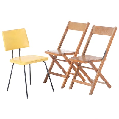 Snyder Chair Company Folding Oak Chairs with Viko Side Chair, Mid-20th Century